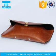 YT1360 imitation leather and golden metal button luxury glasses soft case
