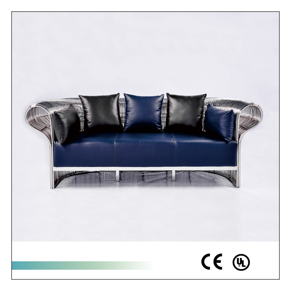 Goolee New Model Living Room Stainless Steel Metal Leather Sofa