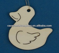 Hot sale new latest designed laser-engraving Duck Shape wooden ornaments for christams decoration