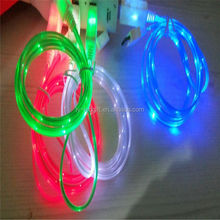 led micro usb cable flashing color led charging cable for iphone 5