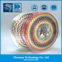 Chenyue rainbow pla filament 3d material 1.75/2.85/3.00mm pla/abs/flexible/hips