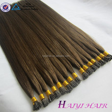 2016 100% natural wholesale Hot Selling 8A,7A Grade I-Tip/Pre-bonded human Hair Extensions
