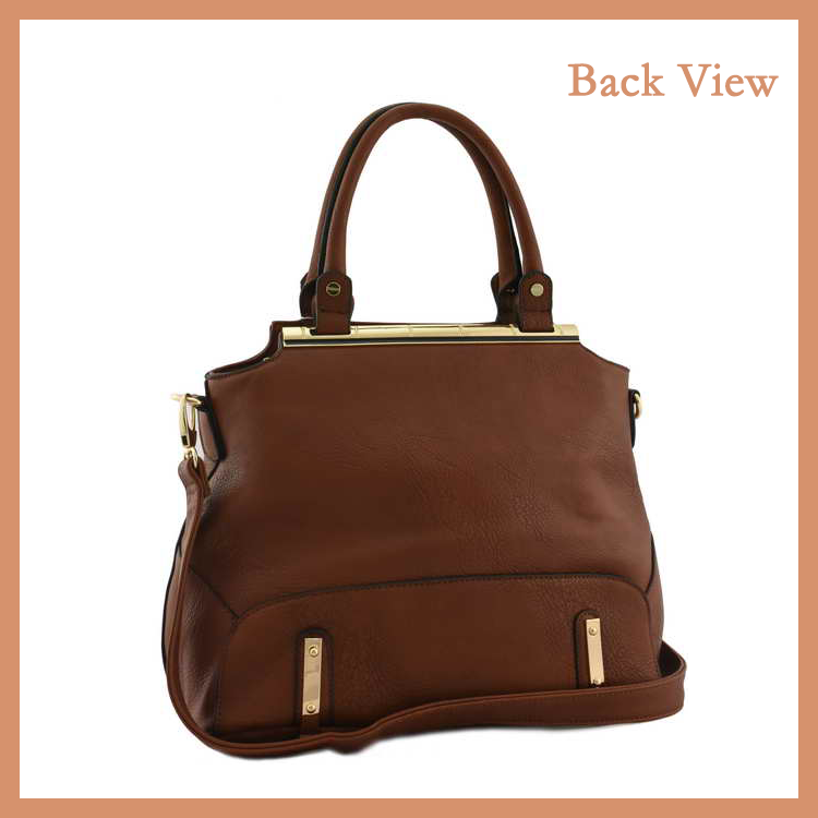 Large Capacity Women Top Handle Leather Hand Bag With Hardware Decoration