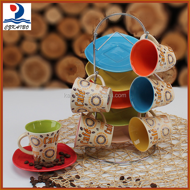 Excellent quality classic design ceramic tea cup/coffee cup with saucer and metal stand