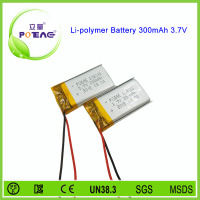 Hot sale small 3.7v 300mah rechargeable lithium polymer battery pack