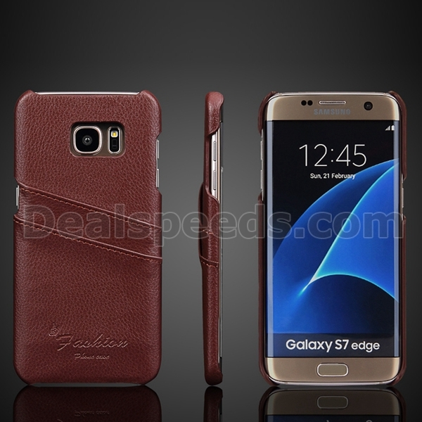 Brown Litchi Pattern Second-Layer Real Leather Coated Case for Samsung Galaxy S7 Edge Back Case, Phone case