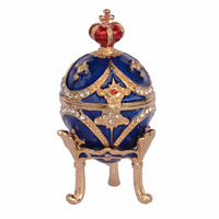 Faberge Easter egg bejeweled trinket box gold jewelry box metal tabletop crafts birthday gifts for her collectibles