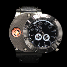 Black Collectable Butane Cigarette Cigar Lighter with USB Electronic Watch