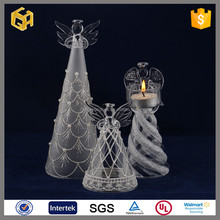 Promotion light up glass angel,glass angel candle holder