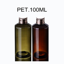 100ml Amber Tea-Green PET Plastic Hair Oil Bottles with Clear Screw Cap/Natural Liquid Dispenser Inlay
