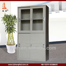 Slate gray filing cabinet metal with slide glass door