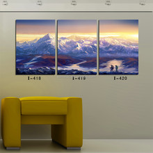 Large Wall Art Canvas Pictures for Living Room 3 Piece World Famous Mountain and Hikers Landscape Wall Paintings