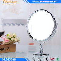 Beelee Round Brass Pedestal Desk Mount Smart Makeup Mirror