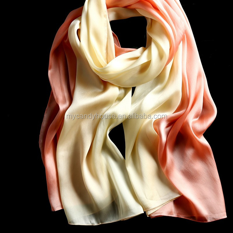 solid color muslim hijab silk gradient scarf