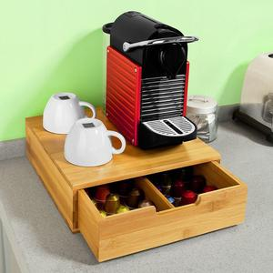 Coffee Pod Storage Drawer, Coffee Capsule Holder Stand Box, Teabags Storage Case Bamboo