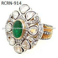 Designer Indian Jewelry 925 Sterling Silver Green Emerald Uncut Diamond Ring