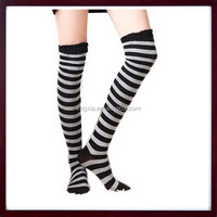 Girls Ladies Women Fancy Knee High Socks, Thigh High OVER the KNEE Socks, Stripe Patterned Thigh High Cotton Womens Socks