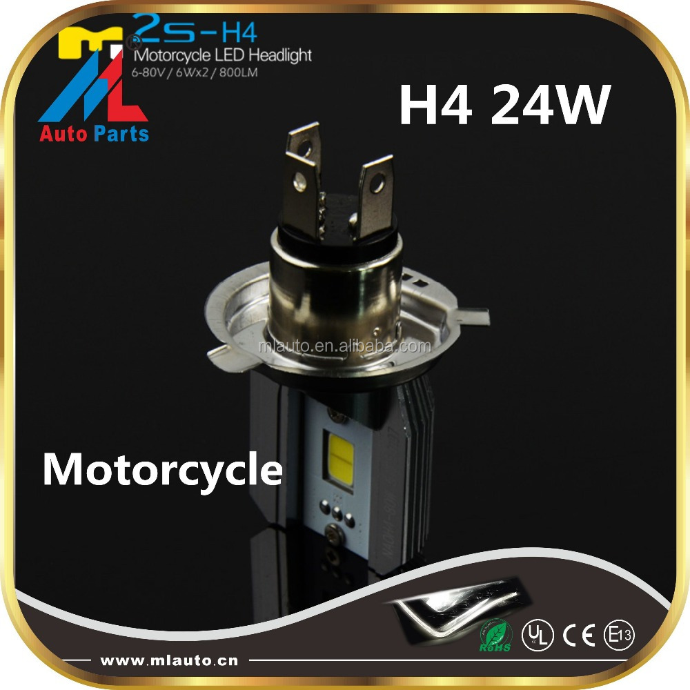 24W H4 Motor lights high power COB led lighting 800lm car&l led motorcycle headlight
