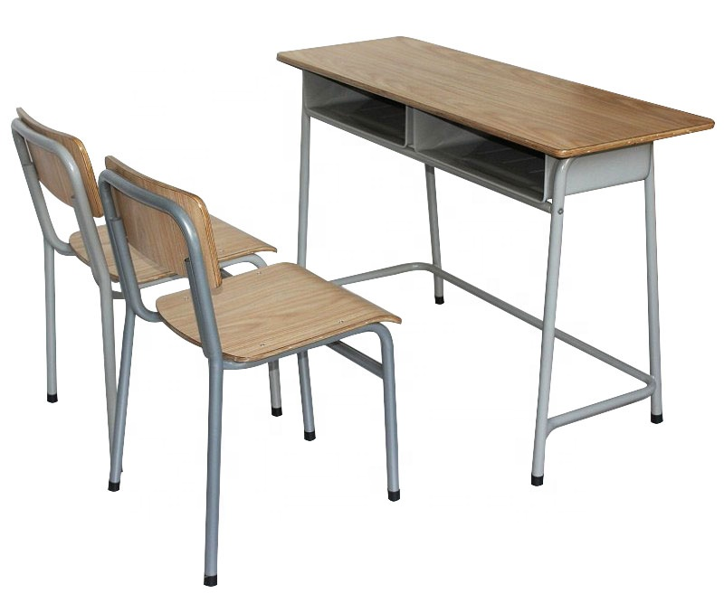School furniture steel and wooden double seat student desk chair