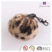 High quality fashion fake fox fur pompom decorative ball key ring accessories, faux fox fur ball plush keychain
