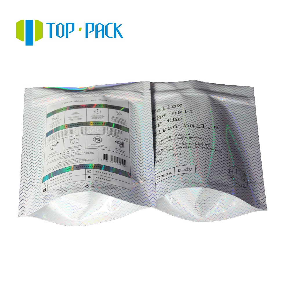 Custom printed Body scrub holographic foil packing bags