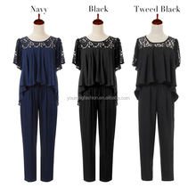 women Casual two piece round neck short sleeve casual pants suits