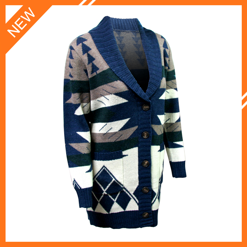 2015 lastest design jacquard women's 100% wool cardigan sweaters