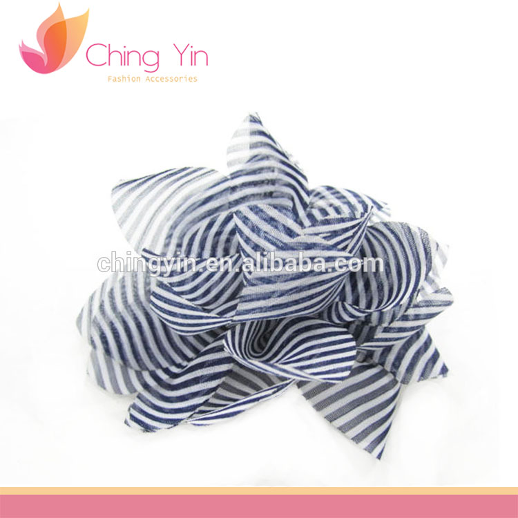 Chic Girls' Fashion Hair Accessories Blue White Stripe Flower Hair Alligator Clip