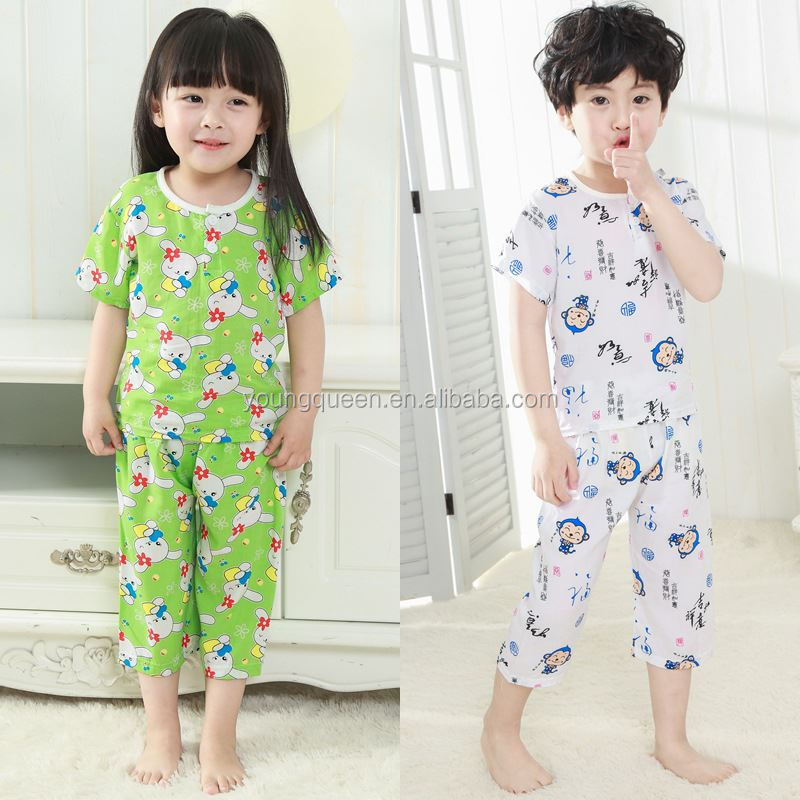 ET14 Children's pajamas Summer Boys and girls childrens clothing sets wholesale cotton pajamas