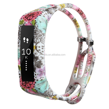 Personalized rubber water lily straps, fancy silicone printing watch replacements for fitbit Alta