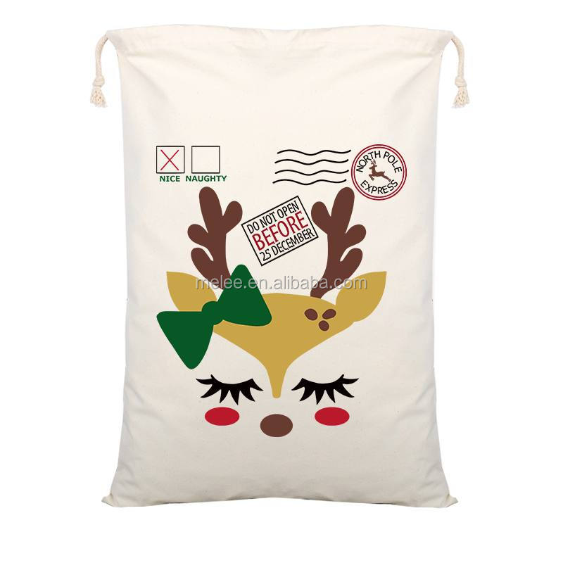 Merry Christmas <strong>Gift</strong> Bags New Large Canvas Santa Sack 9 Pattern Organic Heavy Canvas Drawstring Bag dhl free shipping