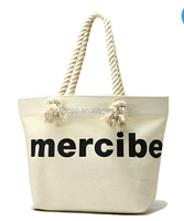 High quality factory priceplain withe cotton canvas bag with rope handle wholesale