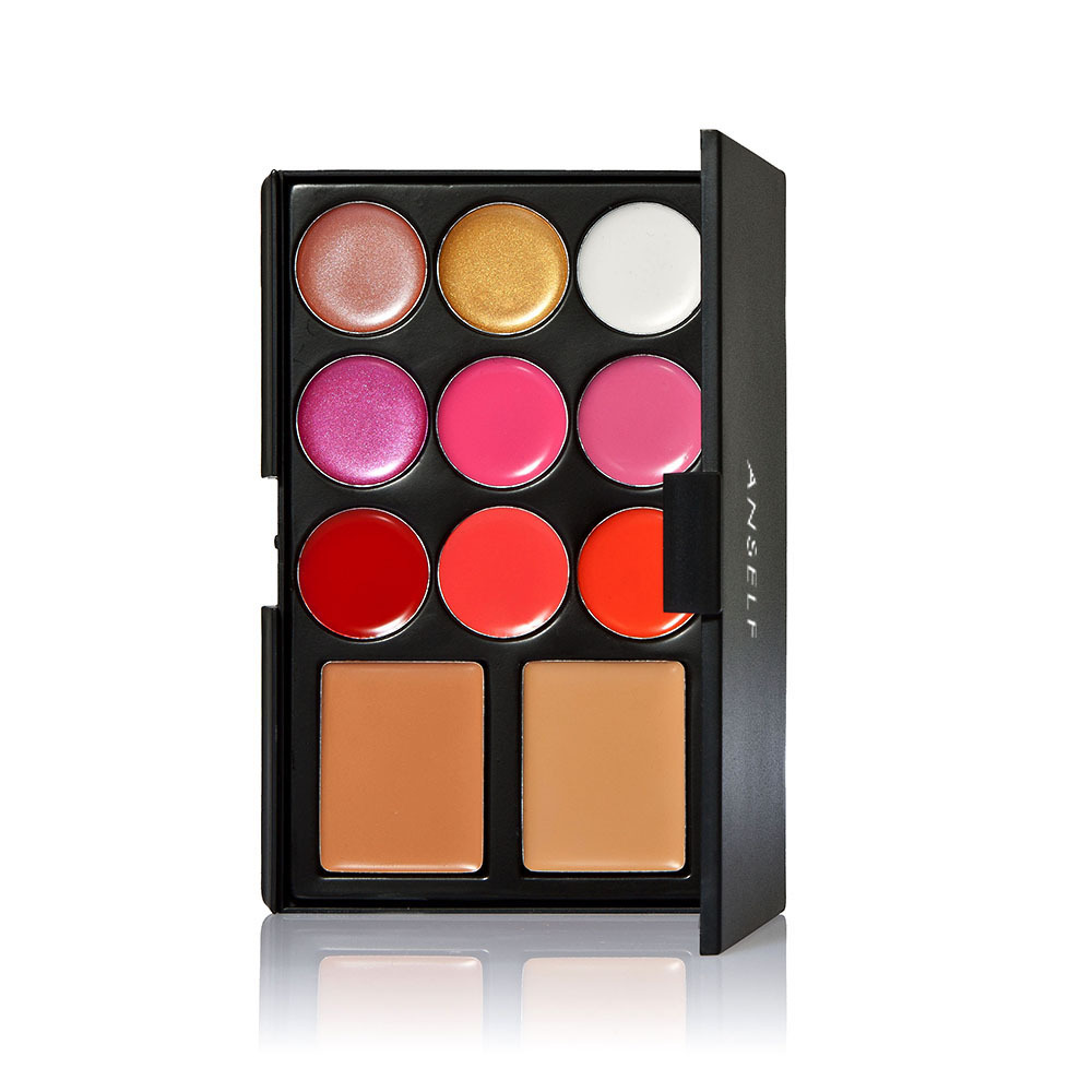 Anself Warm Color Makeup Set 2 Color Cosmetic Concealer and 9 Color Lip Gloss Lipstick Make Up Kit