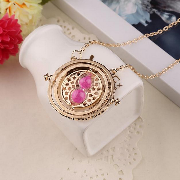 1PC Hot Sale Harry Potter Time Turner Necklace Hermione Granger Rotating Spins Gold Hourglass