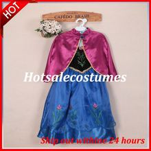 Latest Free Shipping Frozen Anna Dress for Gilrs Movie Cosplay Frozen Anna Dress Costume For Kids/Girls with High Quality