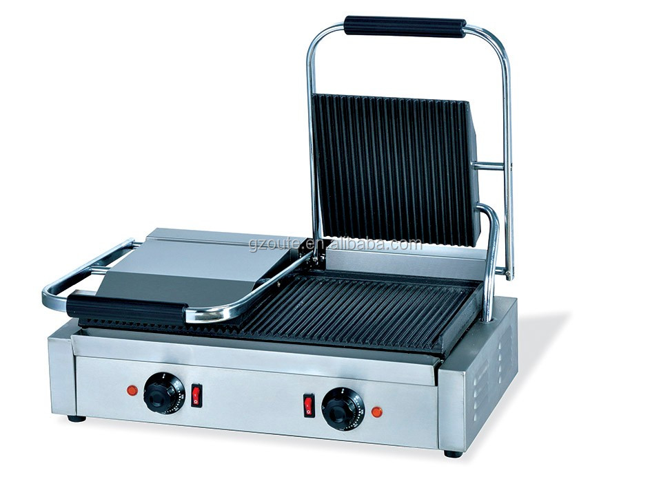 en acier inoxydable lectrique double panini grill avec amovible plaques lectrique contact. Black Bedroom Furniture Sets. Home Design Ideas