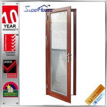 Wooden color single panel aluminum commercial swing door with internal blinds for privacy