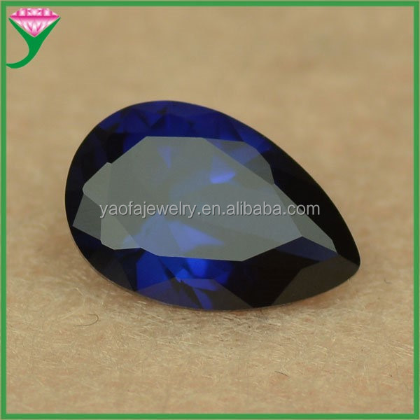 Loose pear cut aaaaa 34# rough synthetic blue color sapphire corundum