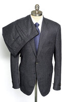 Custom Tailoring Mens Charcoal Micron Wool 2 Piece Slim Fit Flat Front Suit