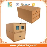 Clear Brown Kraft Paper Carton Paperboard Men Shoe Box Foldable Boxes