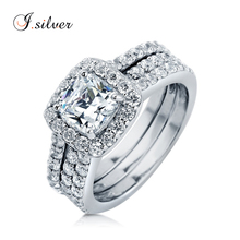 Wholesale 925 sterling silver Cushion CZ Halo Insert ring sets jewelry womens R500292
