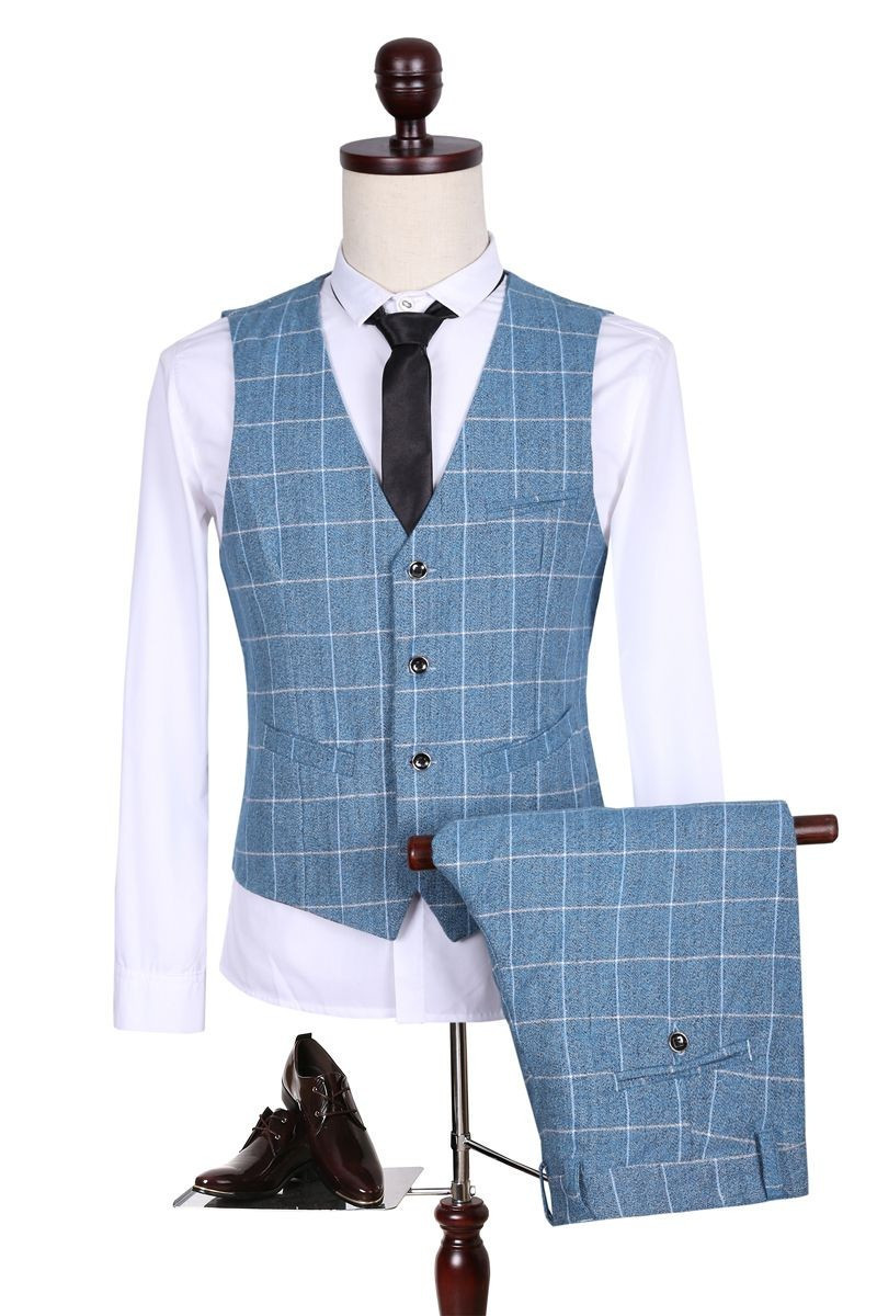 Tz031 New Men Suit Skinny Urban Fashion Grid Single Breasted Wedding ...