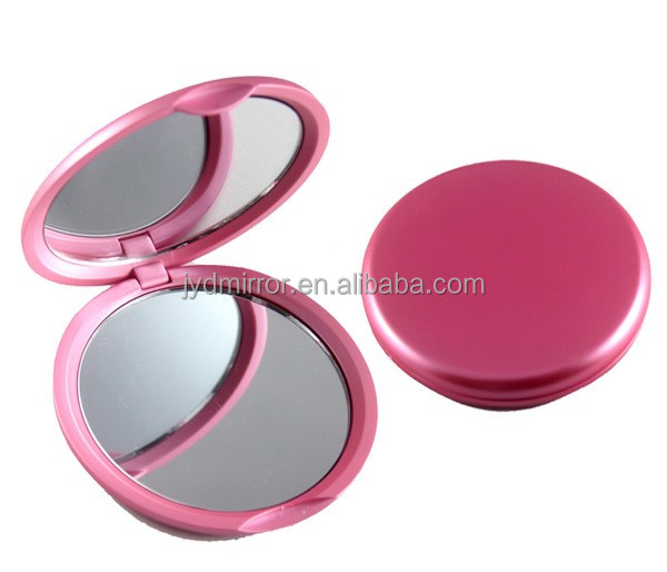 metal shing red color round compact mirror / double sides 2X magnifying pocket mirror