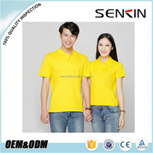 Plain Dry Fit Spandex Polyester Couple cheap uniform polo shirts Made in China Yellow polo golf shirt