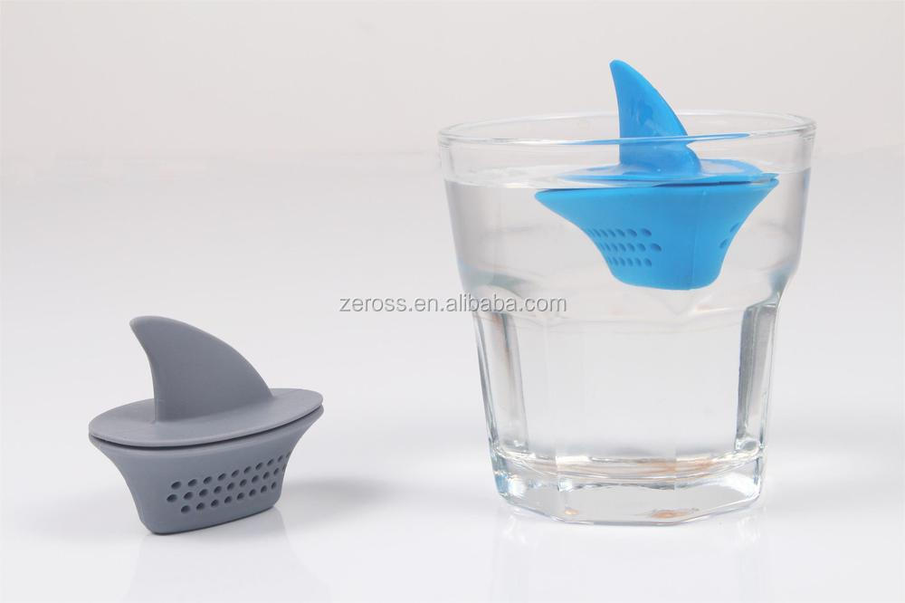 New Arrival silicone tea strainer, silicone shark fin shaped floating tea infuser