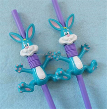 Cute animal colored elastic plastic flexible drinking straw