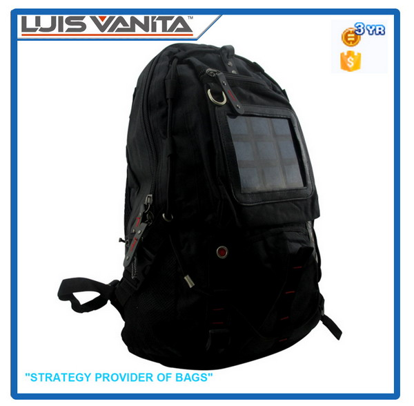 Durable Black Solar Panel Backpack
