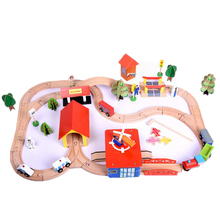 Originality design puzzle assembled 69pcs track Thomas train wood toy