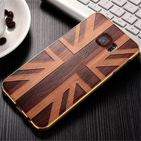 20pcs Per Lot , Hottest selling Metal Bumper+3D Eddfect UV Wood Pattern Printing Phone Case for Samsung Galaxy Note3/4/5