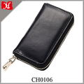 Wholesale Classic Black Oil-waxed Cowhide Leather Key Case Holder Card Wallet Zipper Key Chain Holder